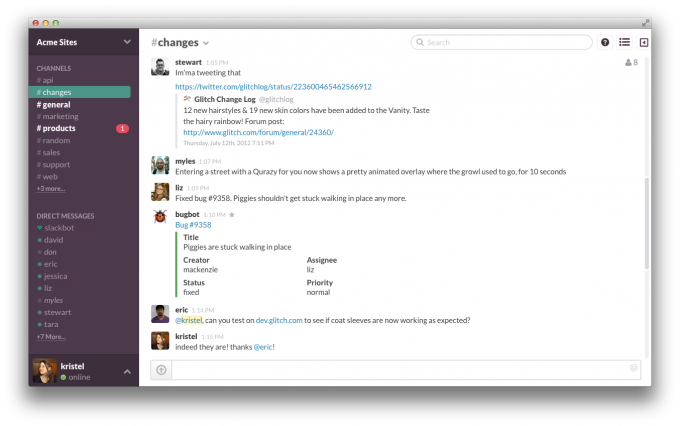 Una schermata tipo di Slack - via The Verge