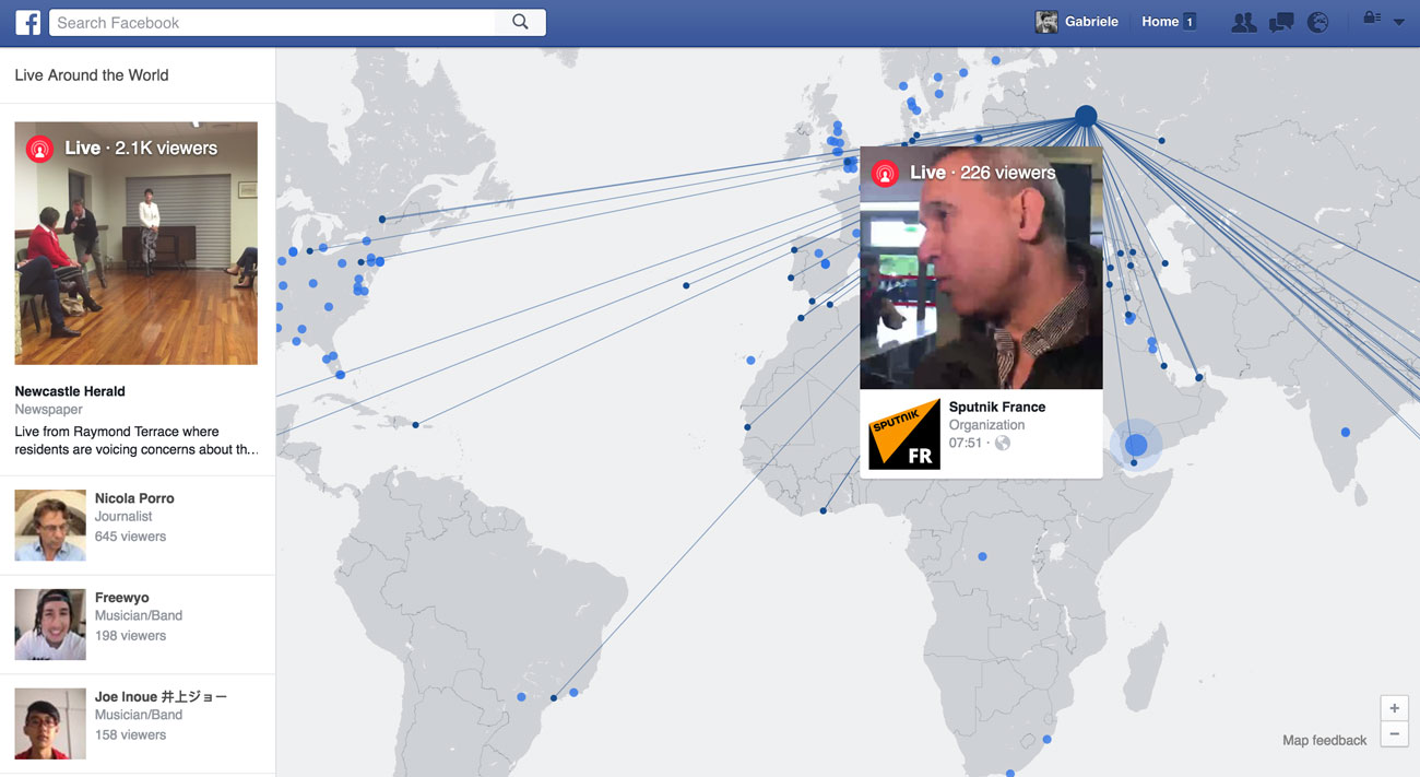 mappa video live facebook