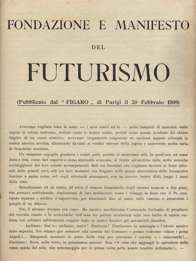 La prima pagina del Manifesto del Futurismo di Filippo Tommaso Marinetti