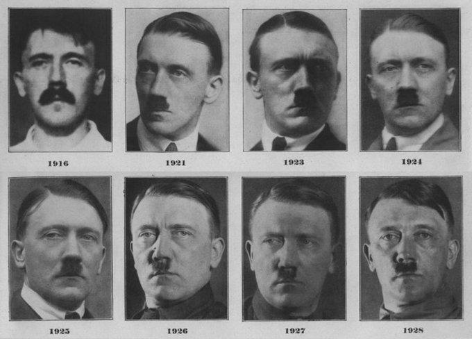Come cambia il volto di Adolf Hitler, durante gli anni della sua ascesa al potere