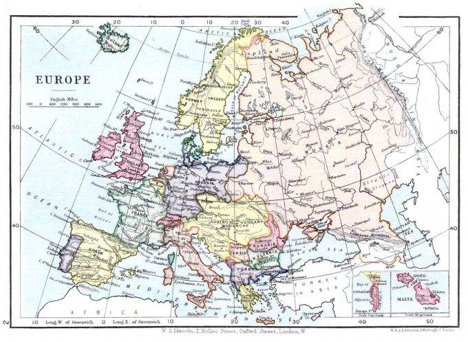 Una mappa d'Europa, del 1899