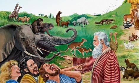 La gente che scherza Noè, in una bella illustrazione dei Testimoni di Geova