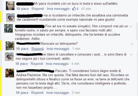 La serie di commenti sotto il post di Zerocalcare