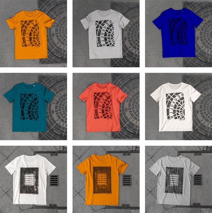 Le grafiche delle magliette fatte direttamente coi tombini