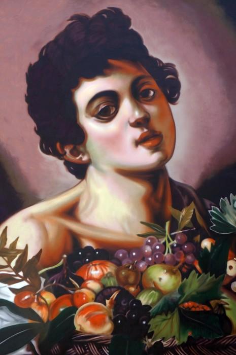 """""""Fanciullo con canestra di frutta"""" di Caravaggio fatto da Andrea Ravo Mattoni"""