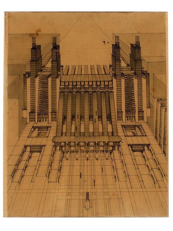 Stazione d'aeroplani e treni ferroviari con funicolari e ascensori su tre piani stradali