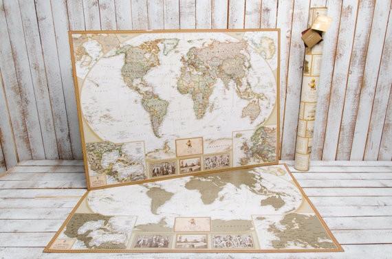 Se la destinataria del regalo è appassionata di viaggi, ecco un regalo che potrebbe renderla felice: una grande mappa con le nazioni del mondo ricoperte da una sottile patina argentata. Come nel classico gratta&vinci, basta una moneta per rimuoverla, rendendo la mappa un gigantesco viaggia&gratta. Costa 36 euro. Si compra qui