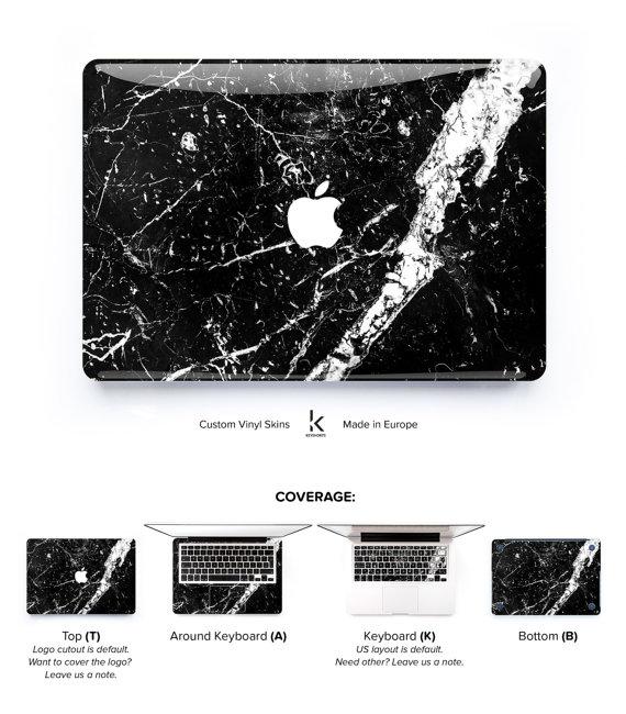 Il set di adesivi per rendere il tuo Mac una scultura di marmo. Costa 13 euro e si compra qui