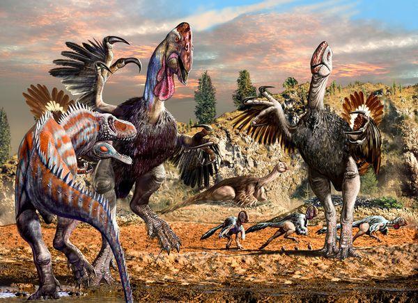 La rappresentazione di una battaglia tra enormi pennutosauri
