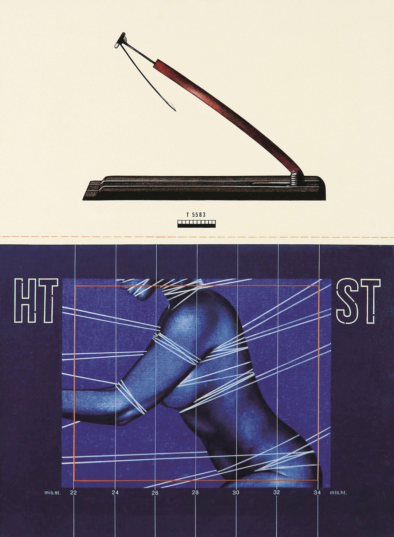 Sergio Sarri, <em>Studio con piccolo attrezzo sonda e schermo con figura</em>, 1975, acrilici su tela, 80x60cm