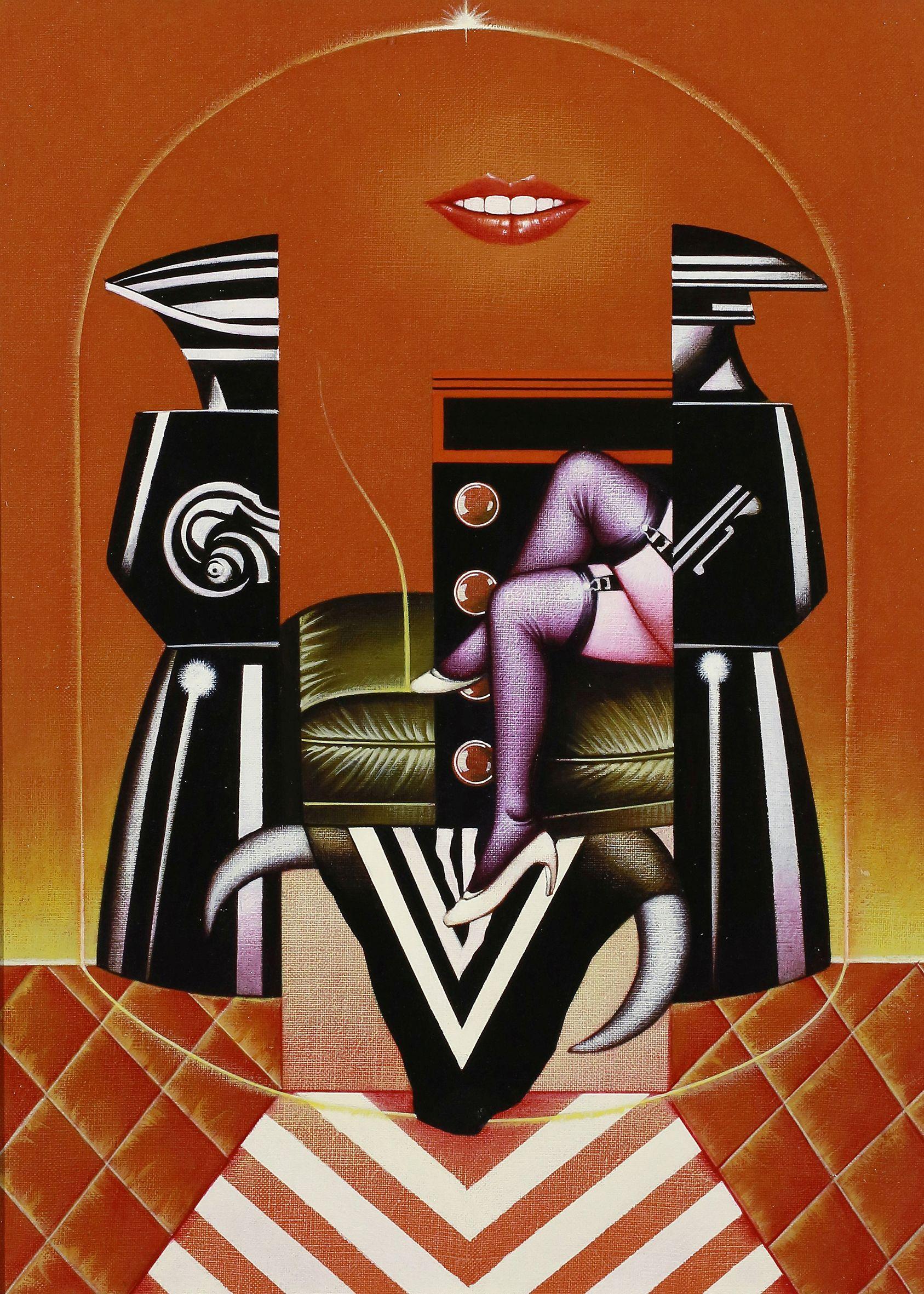 Sergio Sarri, <em>Studio per Belle de Jour (omaggio a Buñuel)</em>, 1985, acrilico su tela, 55x40cm