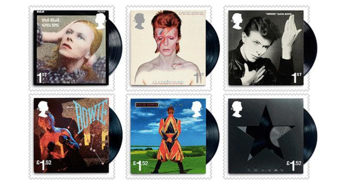I sei francobolli dedicati agli album di David Bowie
