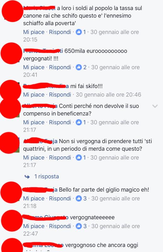 Alcuni degli auguri che ha preso Conti su Facebook