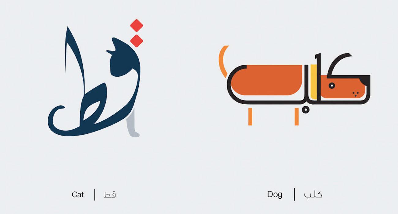 Le parole in lingua araba diventano disegni che illustrano il loro significato letterale