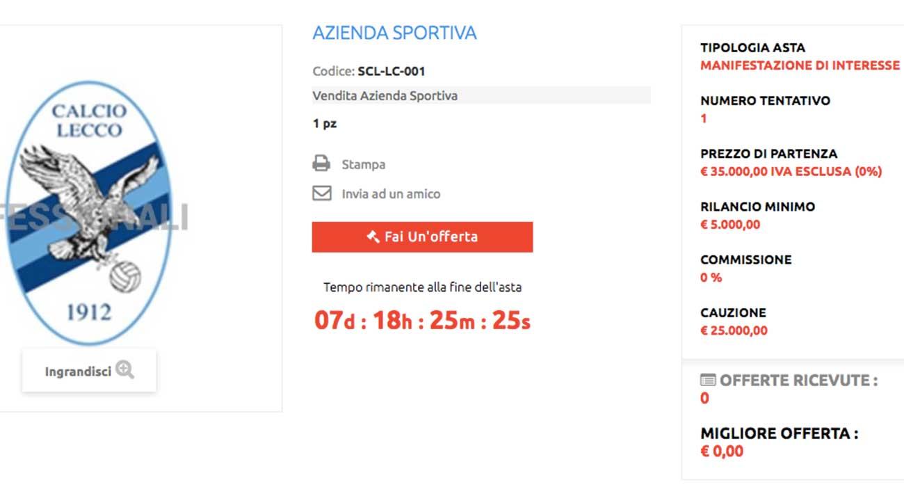 La pagina dell'asta online per il Lecco Calcio
