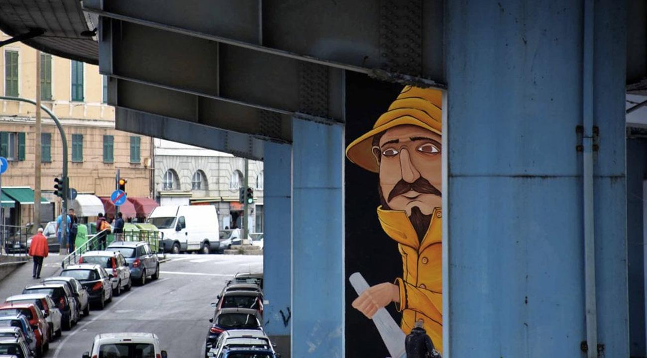 L'orribile sopraelevata di Genova sta diventando un museo di street art grazie a Walk The Line