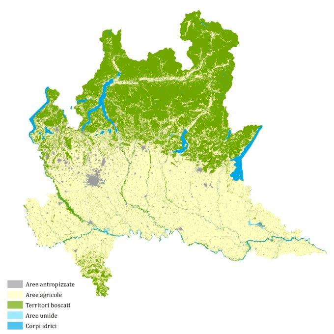Lombardia 1954 – elaborazione CRCS su dati DUSAF – Destinazione d'Uso dei Suoli Agricoli e forestali (Regione Lombardia, ERSAF)