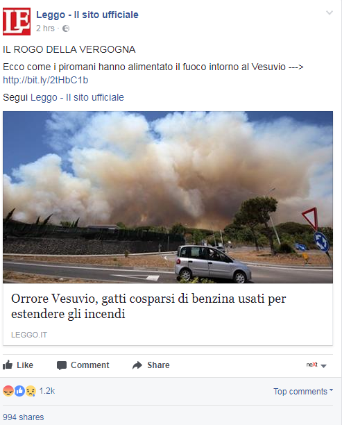 "Screenshot dalla pagina Facebook di Leggo, via <a href=""https://www.nextquotidiano.it/gatti-benzina-vesuvio/"" target=""""_blank"""" rel=""nofollow"">Next Quotidiano</a>"
