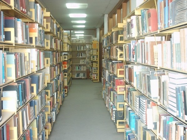 L'interno della biblioteca prima della distruzione