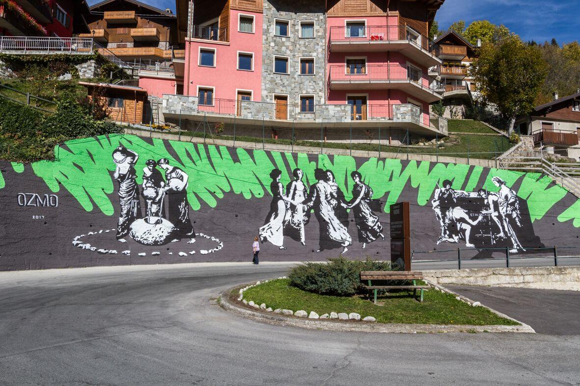 """""""Pietra forata, Dos delle Barbine, Accademia del Cattabriga"""", opera di Ozmo – foto di Davide Bassanesi"""
